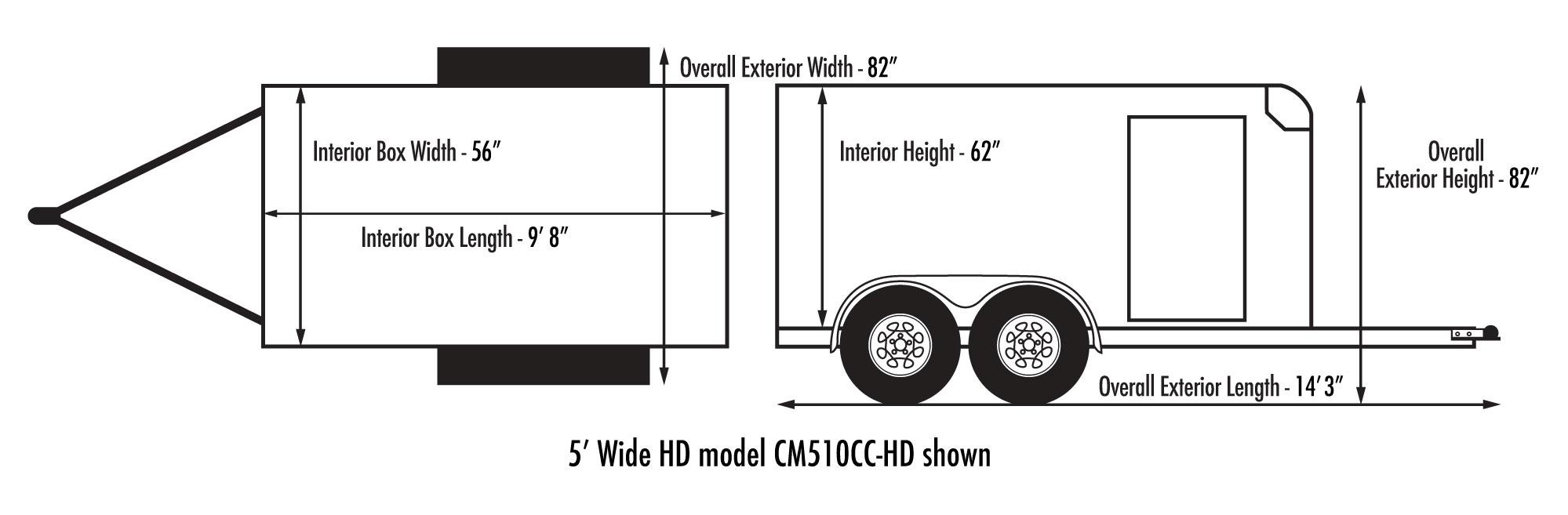 Custom Cargo 5 Wide Tandem Diagram