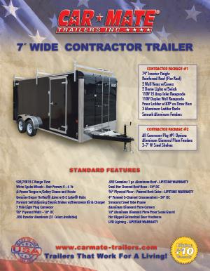 7 Wide Contractor Trailer Brochure Cover