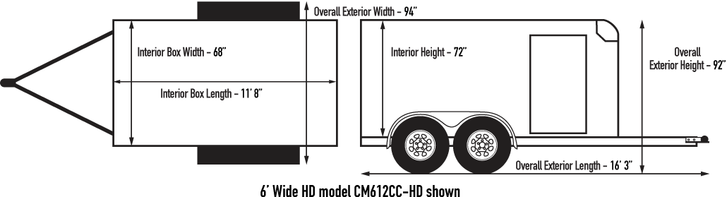 Custom Cargo 6 Wide Heavy Duty Diagram