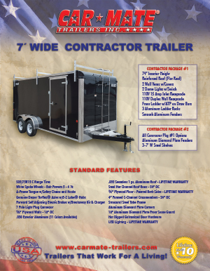 7 Wide Contractor Trailer Brochure Cover