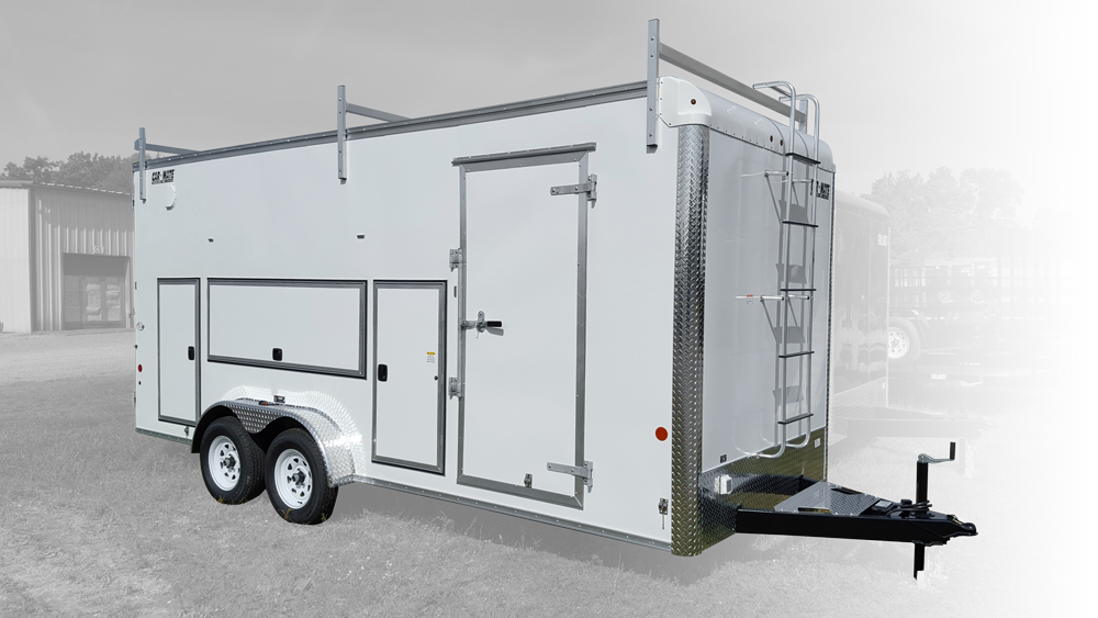 This is an image of a contractor Trailer with the Tool Box Package